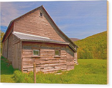 Wood Print featuring the photograph Old Barn In The Valley by Nancy De Flon