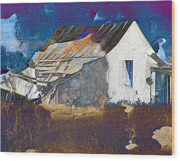 Wood Print featuring the digital art Old Village by Irina Hays