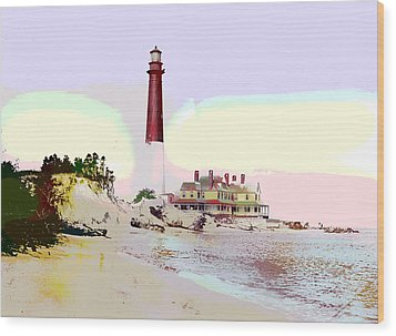 Old Barney Lighthouse Wood Print by Charles Shoup