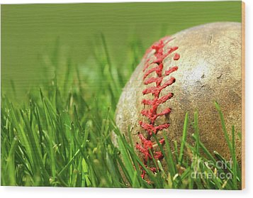Old Baseball Glove On The Grass Wood Print by Sandra Cunningham