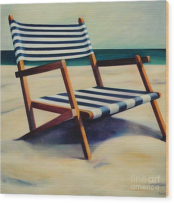 Old Beach Chair Wood Print by Mary Naylor