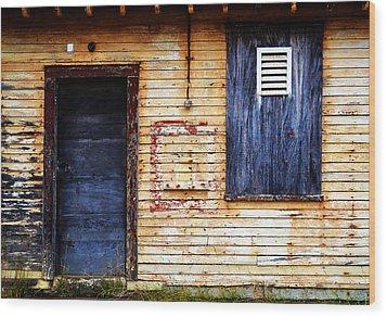 Old Blue Doors Wood Print