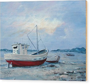 Old Boats On Shore Wood Print by Gary Partin