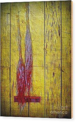 Old Brooms Wood Print by Judi Bagwell