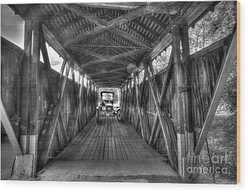 Old Car On Covered Bridge Wood Print by Dan Friend