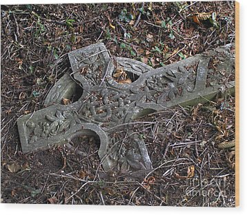 Wood Print featuring the photograph Old Celtic Cross  by Alexandra Jordankova