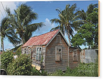 Old Chattel House 2 Wood Print by Barbara Marcus