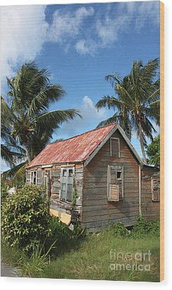 Old Chattel House Wood Print by Barbara Marcus