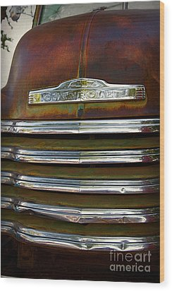 Old Chevrolet Front Grille Wood Print by ELITE IMAGE photography By Chad McDermott