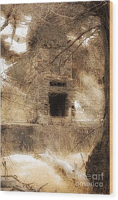Old Chimney Wood Print by Angelique Olin