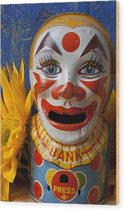 Old Clown Bank Wood Print by Garry Gay