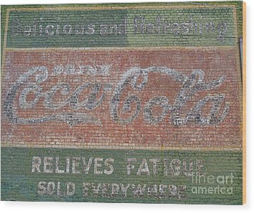 Wood Print featuring the photograph Old Coca Cola Painted Brick Wall by Doris Blessington