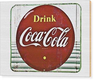 Old Coke Sign Wood Print by Susan Leggett