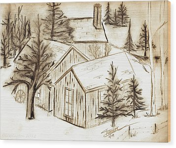 Wood Print featuring the drawing Old Colorado by Shannon Harrington
