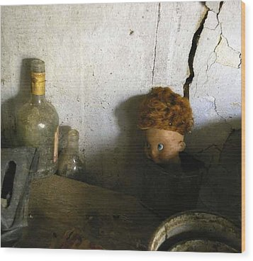 Old Doll In The Attic Wood Print by Draia Coralia