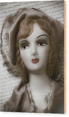 Old Doll On Old Letter Wood Print by Garry Gay