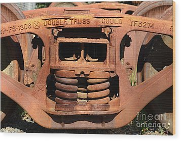 Old Double Truss Train Wheel . 7d12855 Wood Print by Wingsdomain Art and Photography