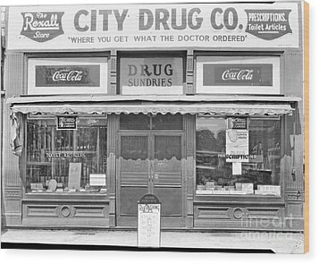 Old Drug Store Circa 1930 Wood Print