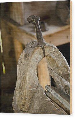 Old Dusty Saddle Frame Wood Print by Wilma  Birdwell