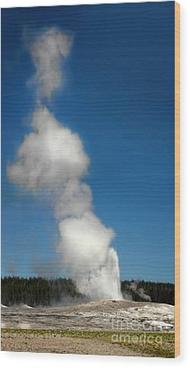 Old Faithful Eruption Wood Print by Gregory Dyer