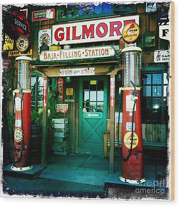 Old Fashioned Filling Station Wood Print by Nina Prommer