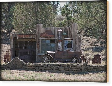 Old Filling Station Wood Print by Athena Mckinzie
