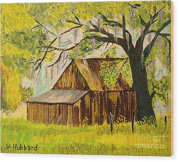 Old Florida Farm Shed Wood Print by Bill Hubbard
