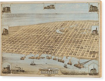 Old Galveston Map Wood Print by Pg Reproductions