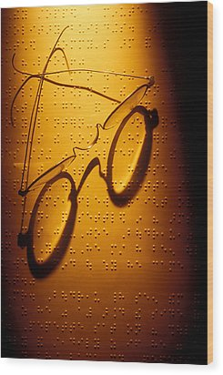 Old Glasses On Braille  Wood Print by Garry Gay