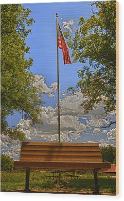 Old Glory Bench Wood Print by Bill Tiepelman