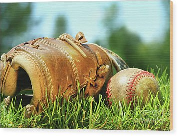 Old Glove And Baseball  Wood Print by Sandra Cunningham