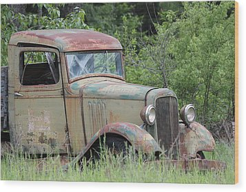 Abandoned Truck In Field Wood Print by Athena Mckinzie