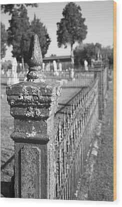 Old Graveyard Fence In Black And White Wood Print by Kathy Clark