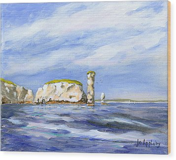 Wood Print featuring the painting Old Harry Rocks by Jo Appleby