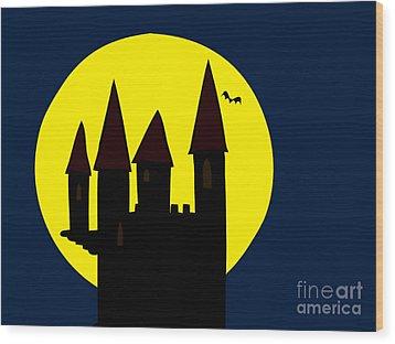 Old Haunted Castle In Full Moon Wood Print by Michal Boubin