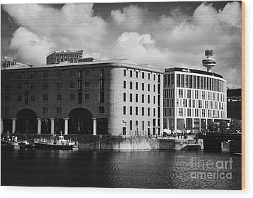 Old Historic Warehouse And The New Hilton Hotel At The Albert Dock Liverpool Merseyside England Uk Wood Print by Joe Fox