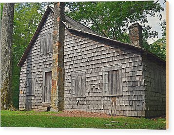 Old Home In Forest Wood Print by Susan Leggett
