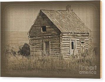 Old Hunting Cabin - Wyoming Wood Print by Donna Greene