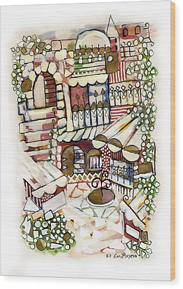 Old Jerusalem Courtyard Modern Artwork In Red White Green And Blue With Rooftops Fences Flowers Wood Print by Rachel Hershkovitz