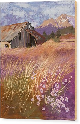 Old Land Trust Barn Mount Shasta Wood Print by Janet Biondi