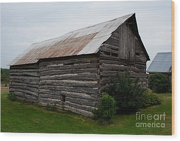 Wood Print featuring the photograph Old Log Building by Barbara McMahon