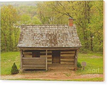 Old Log Cabin Wood Print