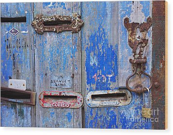 Old Mailboxes Wood Print by Carlos Caetano