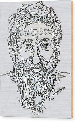 Old Man 2 Wood Print by Johnson Moya