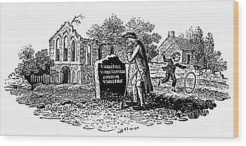 Old Man At Tombstone Wood Print by Granger