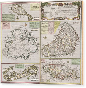 Old Map Of English Colonies In The Caribbean Wood Print by German School