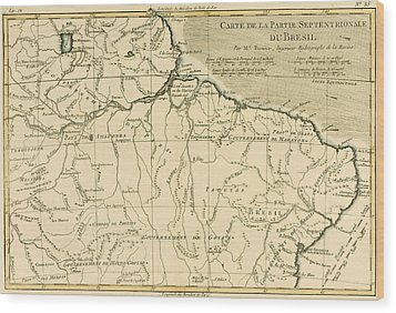 Old Map Of Northern Brazil Wood Print by Guillaume Raynal