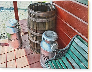 Old Milk Cans And Rain Barrel. Wood Print by Paul Ward