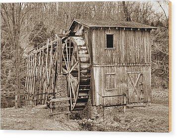 Old Mill In Sepia Wood Print by Douglas Barnett