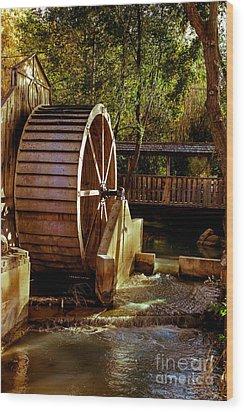 Old Mill Park Wheel Wood Print by Robert Bales